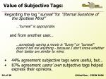 value of subjective tags