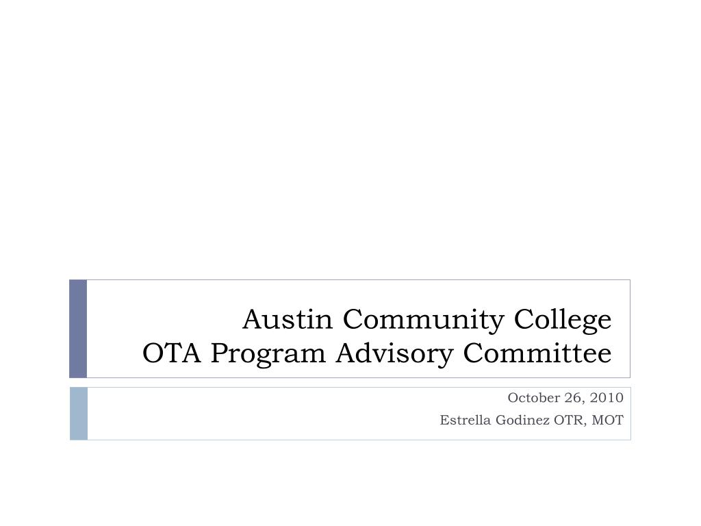 austin community college ota program advisory committee l.