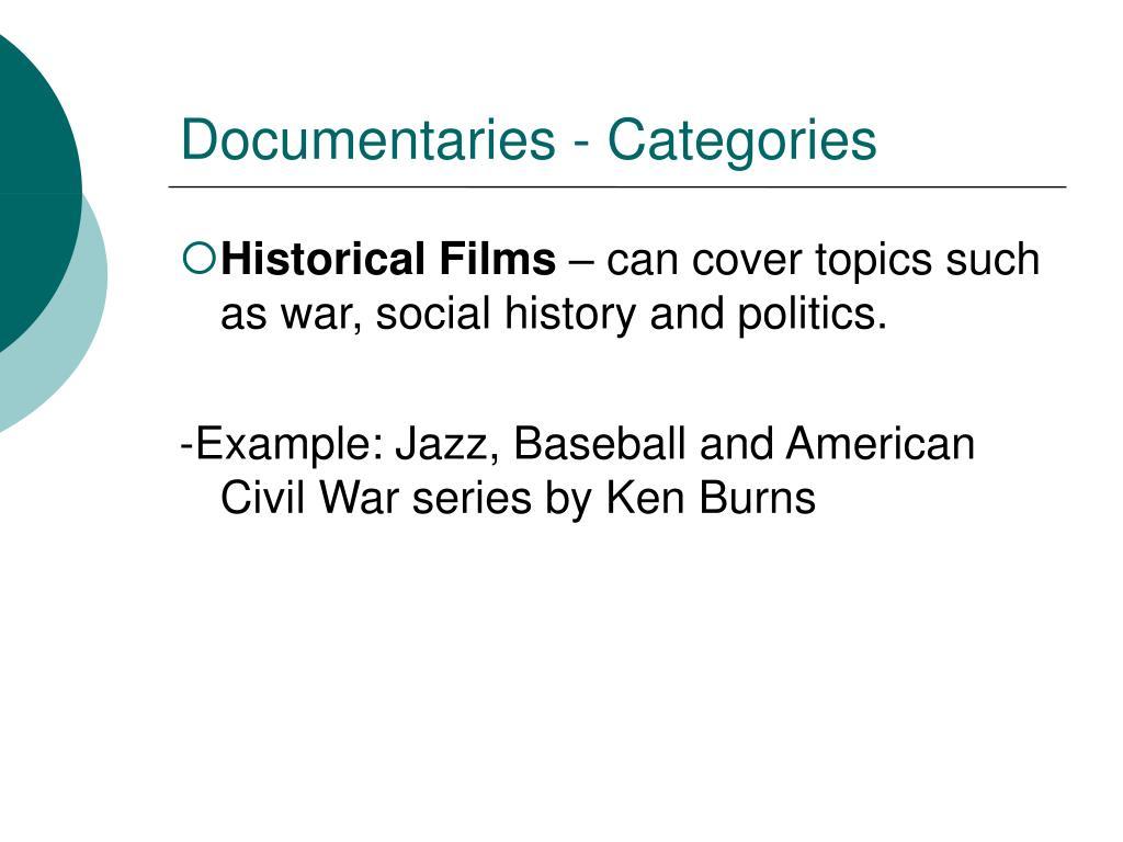 Documentaries - Categories