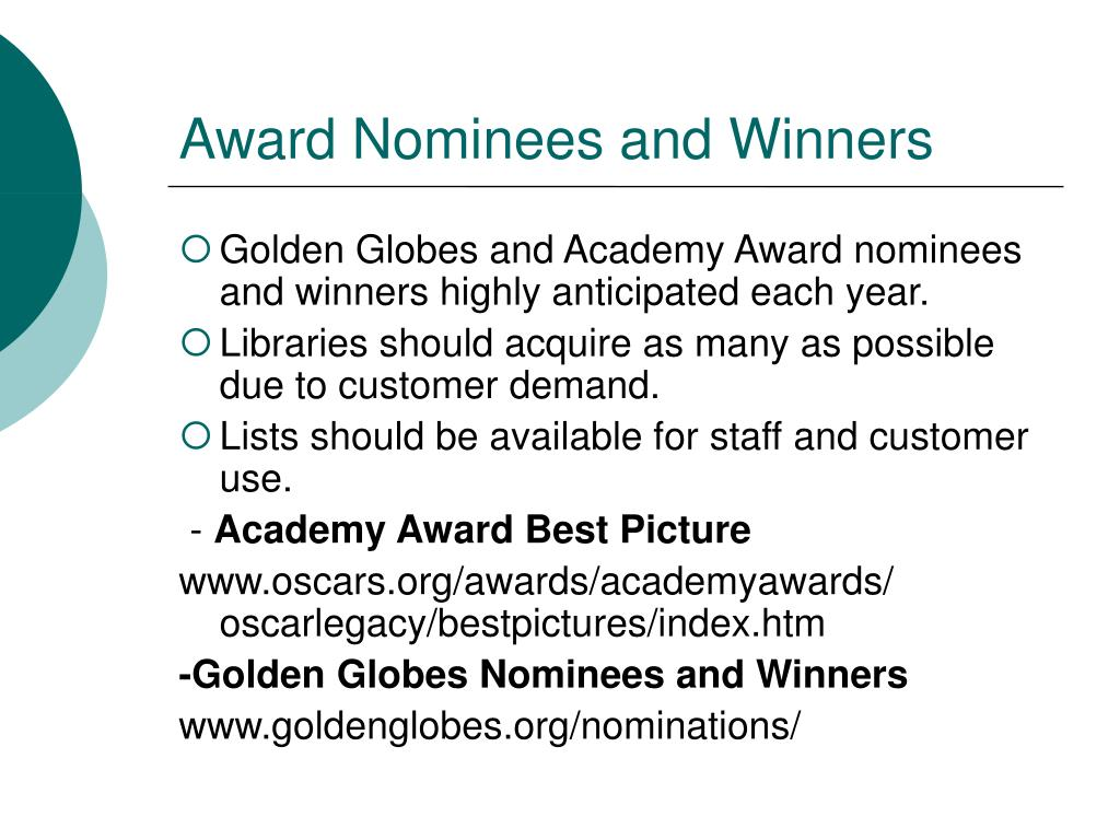 Award Nominees and Winners
