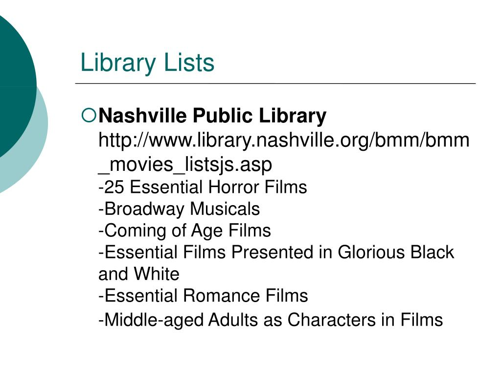 Library Lists