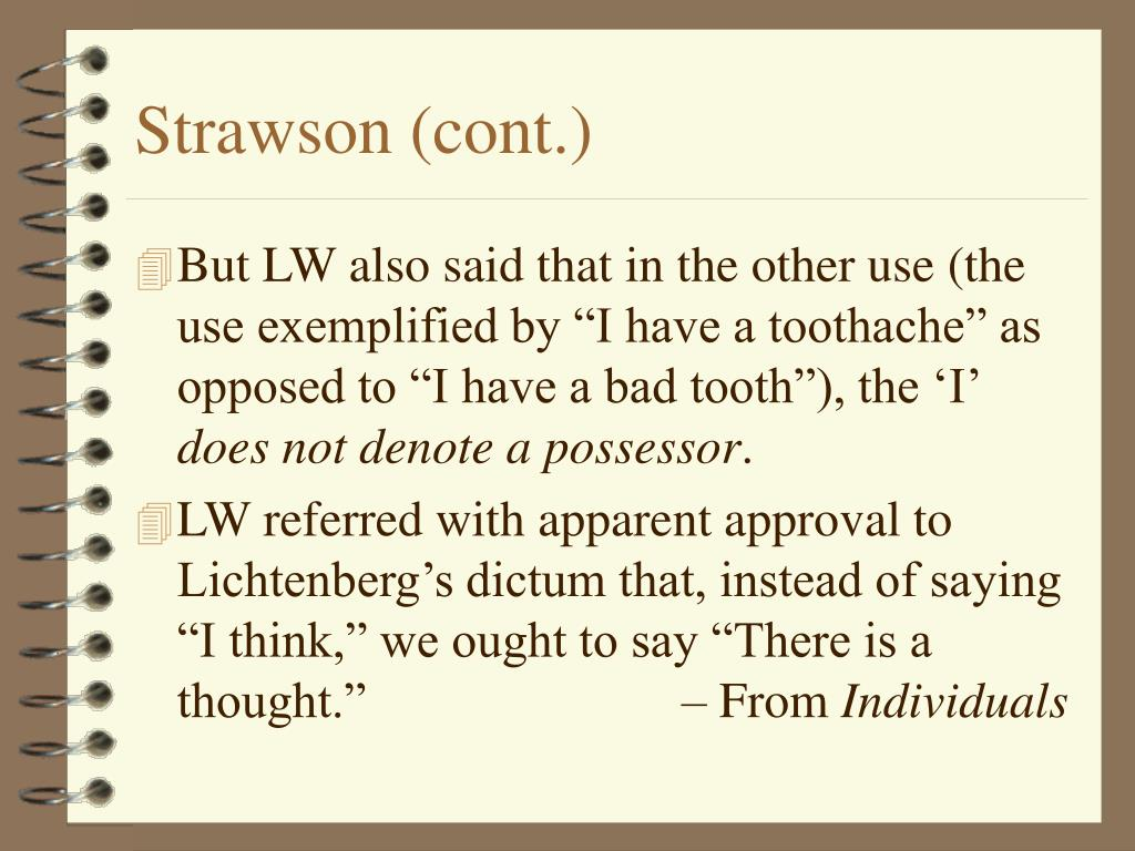 Strawson (cont.)