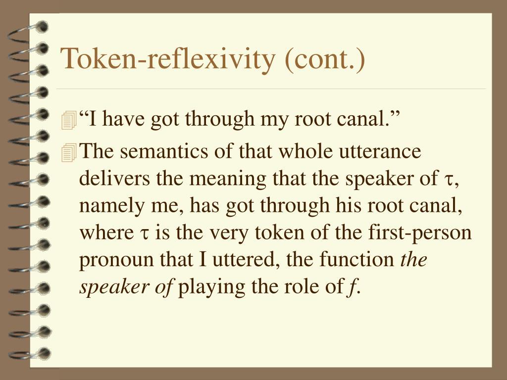 Token-reflexivity (cont.)