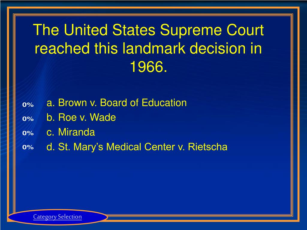 The United States Supreme Court reached this landmark decision in 1966.