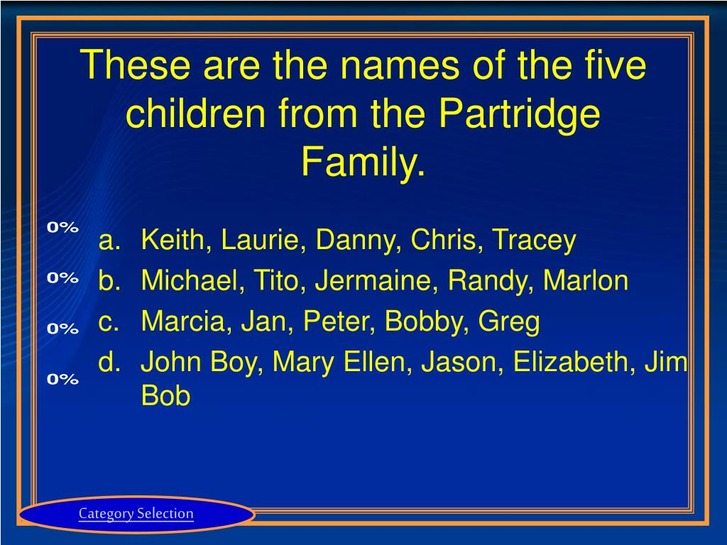 These are the names of the five children from the Partridge Family.