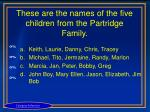 these are the names of the five children from the partridge family