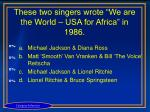 these two singers wrote we are the world usa for africa in 1986