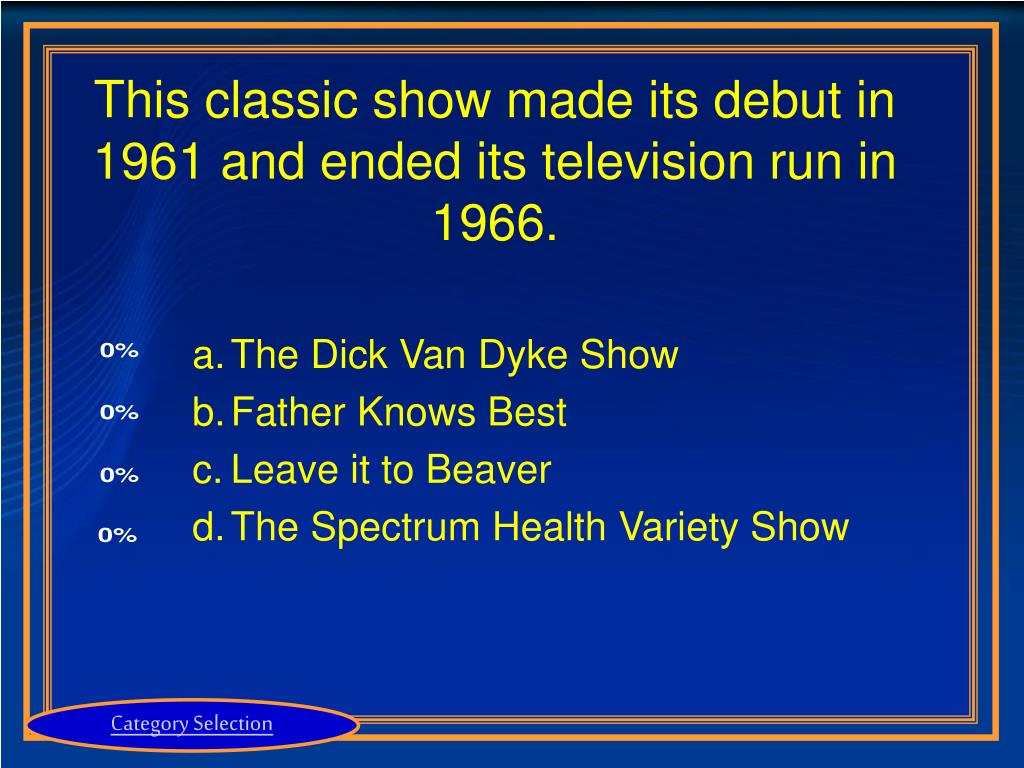 This classic show made its debut in 1961 and ended its television run in 1966.