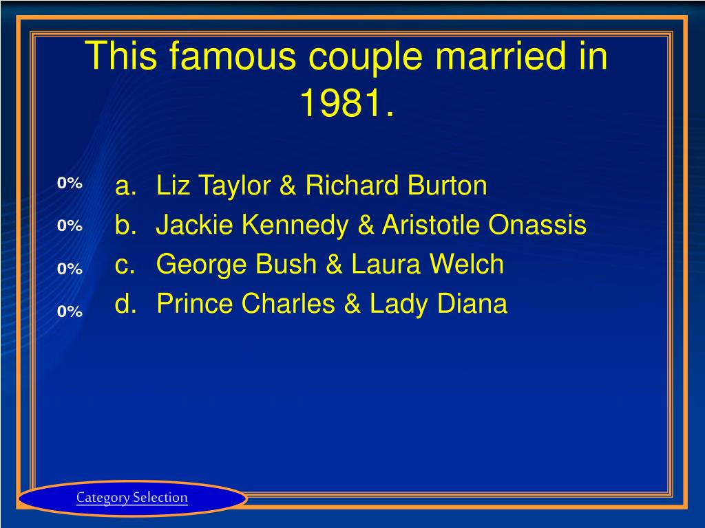 This famous couple married in 1981.