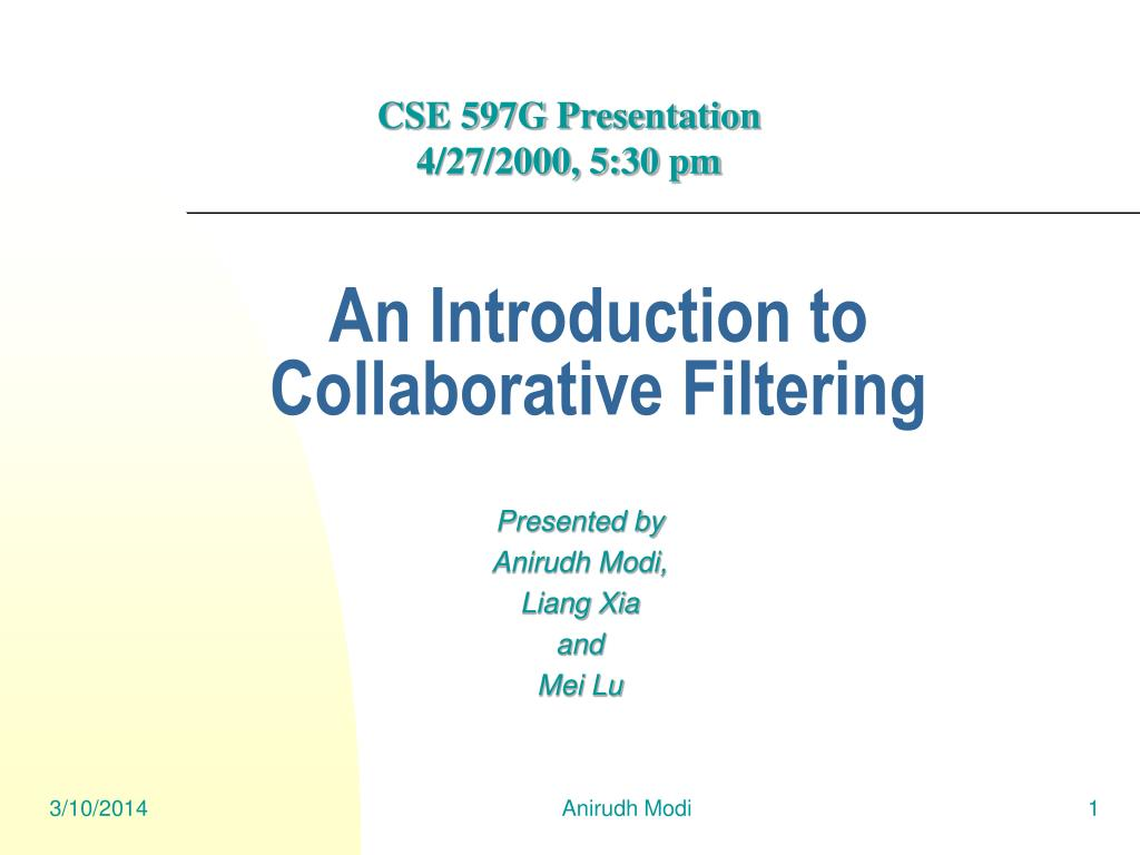 an introduction to collaborative filtering l.