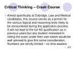 critical thinking crash course