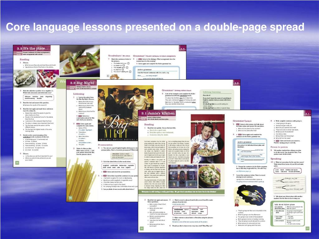 Core language lessons presented on a double-page spread