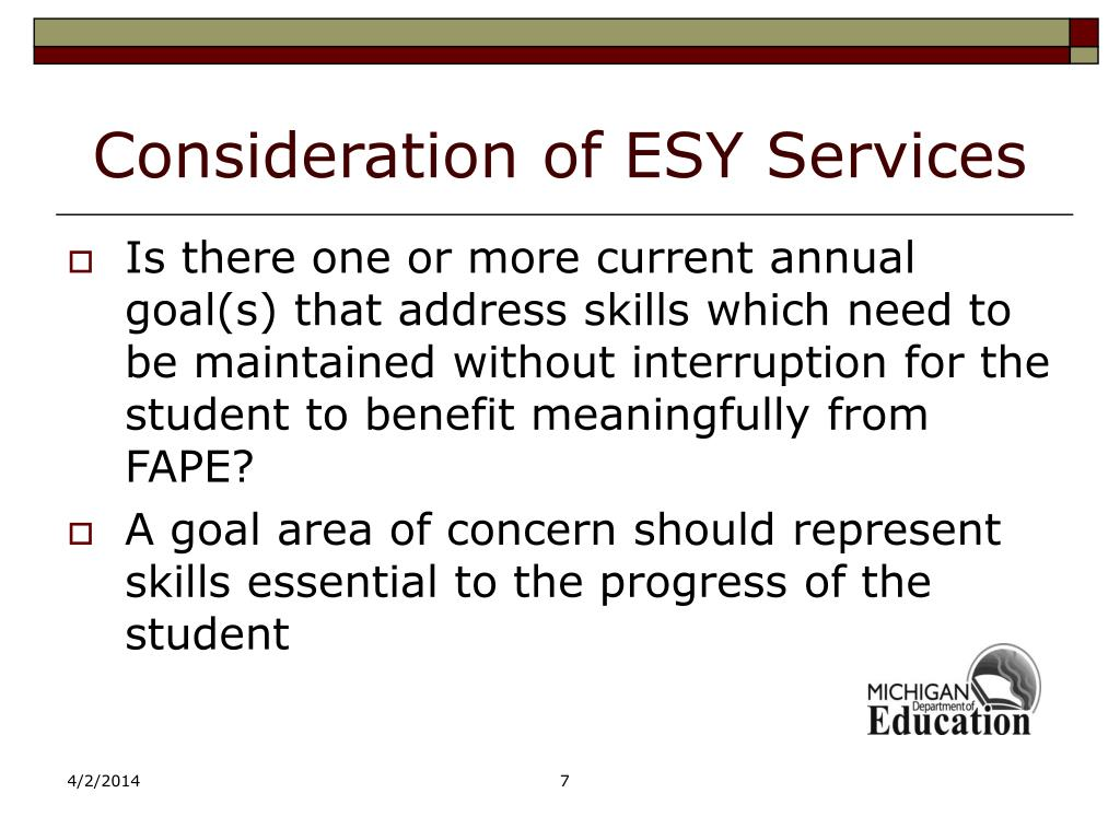 Consideration of ESY Services