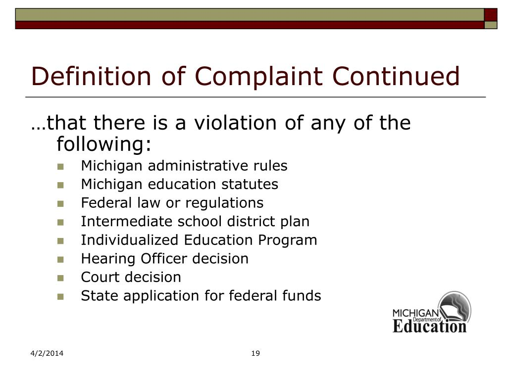 Definition of Complaint Continued