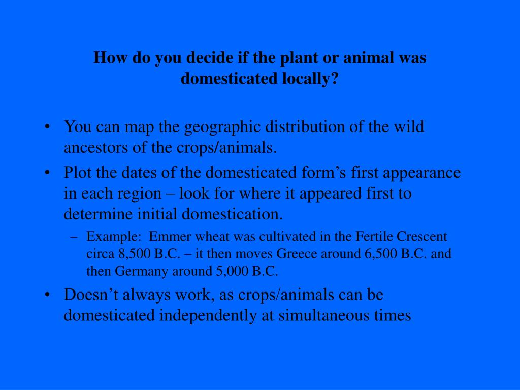 How do you decide if the plant or animal was domesticated locally?