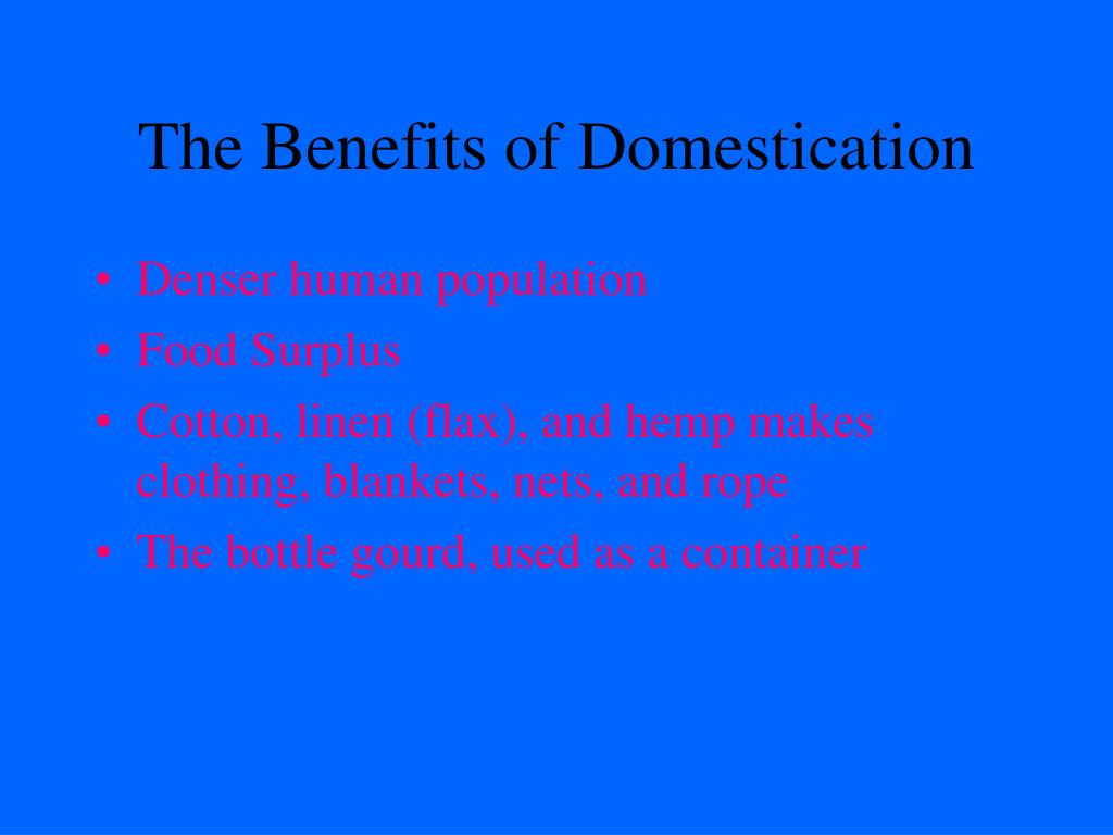 The Benefits of Domestication