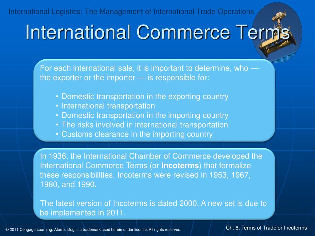 PPT - Chapter Six: Terms of Trade or Incoterms PowerPoint