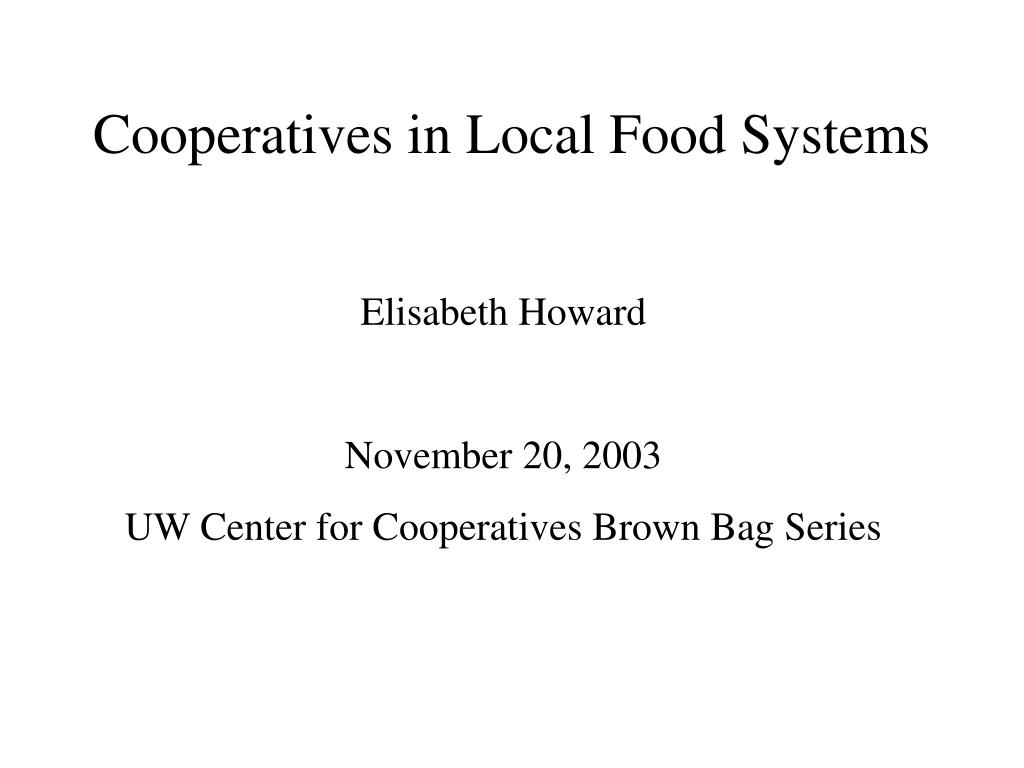cooperatives in local food systems l.