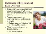 importance of screening and early detection