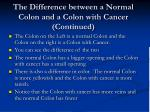 the difference between a normal colon and a colon with cancer continued