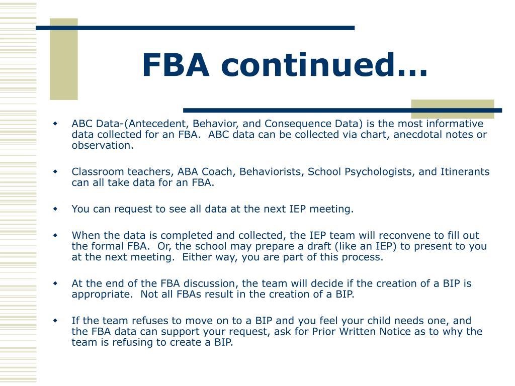 FBA continued…
