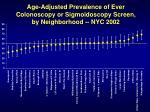 age adjusted prevalence of ever colonoscopy or sigmoidoscopy screen by neighborhood nyc 200224