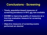 conclusions screening