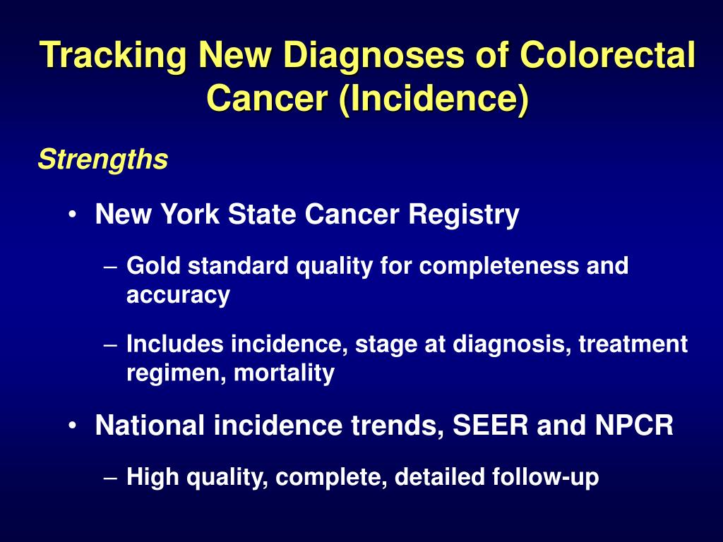Tracking New Diagnoses of Colorectal Cancer (Incidence)