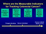 where are the measurable indicators for tracking colorectal cancer11