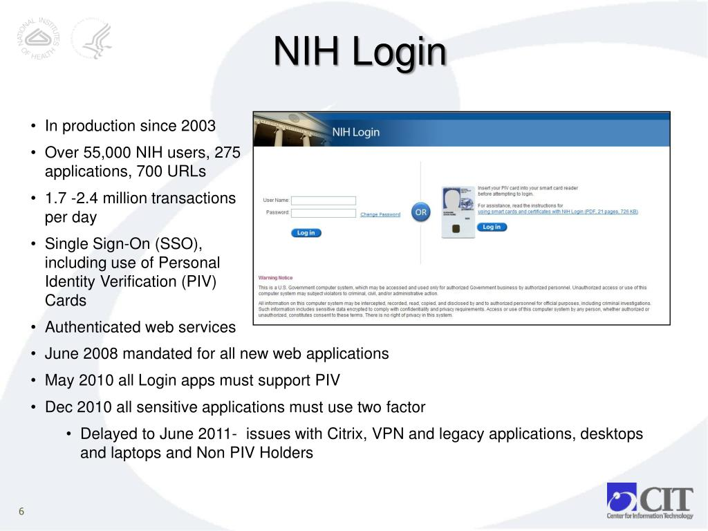 PPT - Single Sign-On and Federated Authentication at NIH and