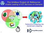the gridbus project @ melbourne enable leasing of ict services on demand