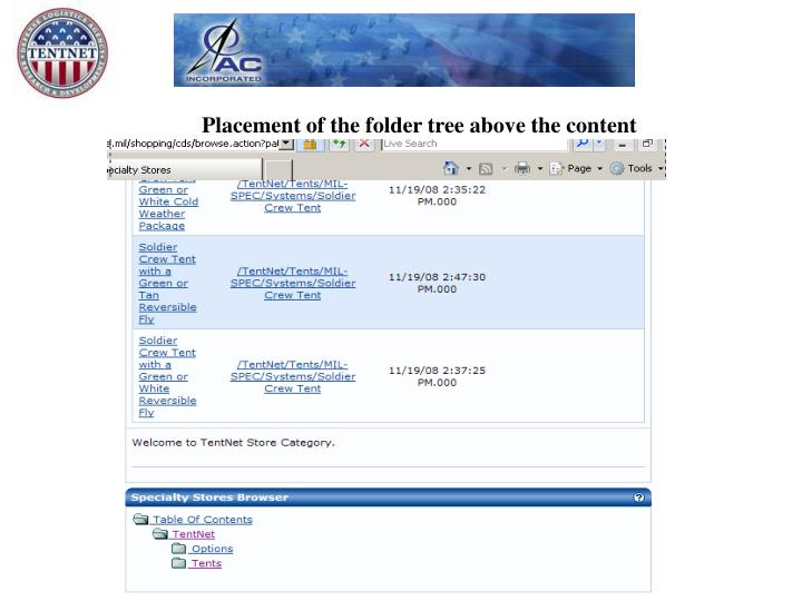 Placement of the folder tree above the content