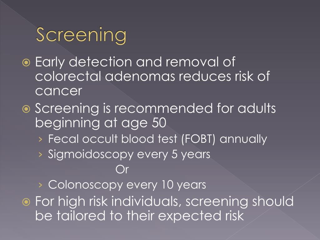 Early detection and removal of colorectal adenomas reduces risk of cancer