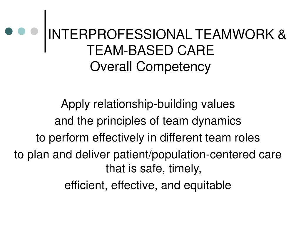 interprofessional-teamwork-team-based-care-overall-competency-l Teamwork Competency Performance Examples on statement 2 for cda, assessment template excel, skills matrix template,