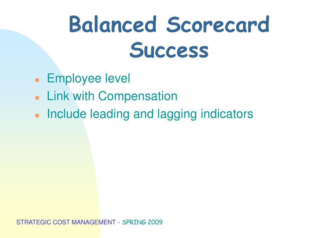 Balanced Scorecard Success