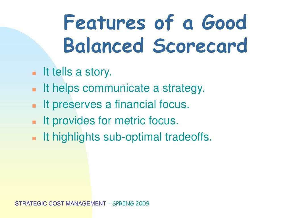 Features of a Good Balanced Scorecard