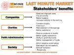 last minute market s takeholders benefits