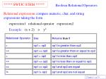 boolean relational operators