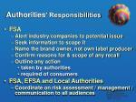 authorities responsibilities