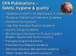cfa publications safety hygiene quality