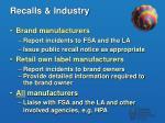 recalls industry