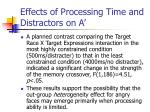 effects of processing time and distractors on a