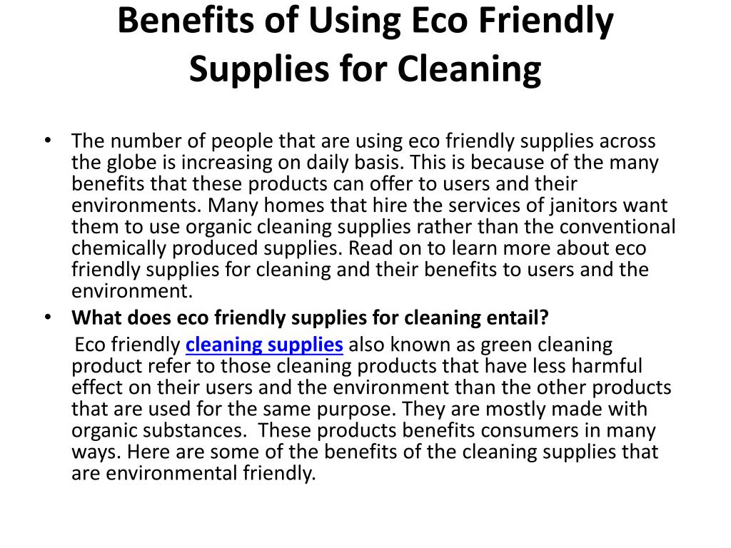 benefits of using eco friendly supplies for cleaning l.