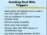 avoiding dust mite triggers