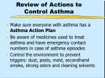 review of actions to control asthma