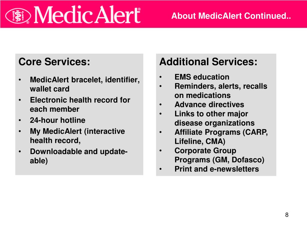 About MedicAlert Continued..