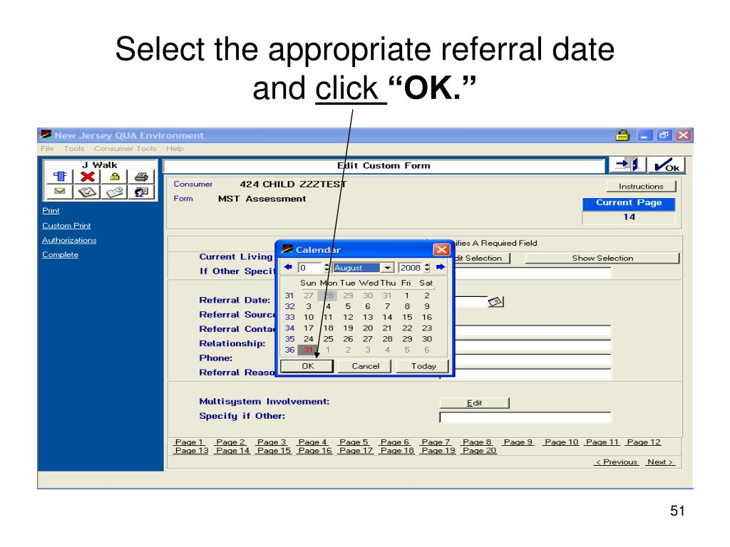 Select the appropriate referral date