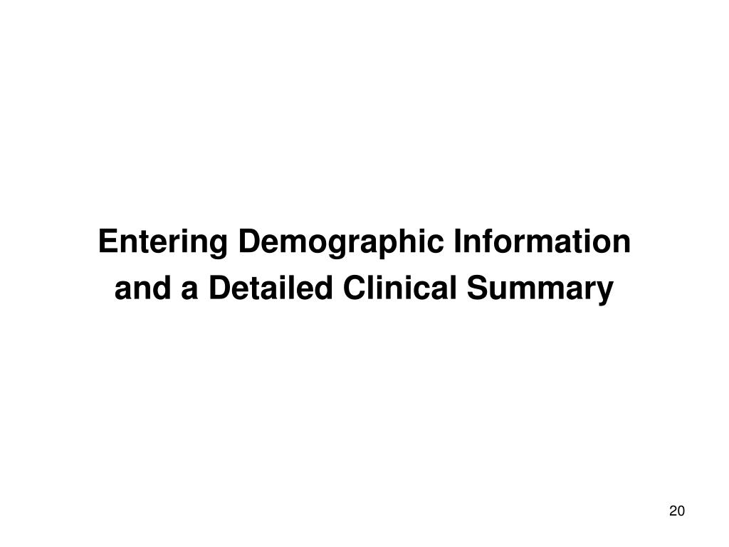 Entering Demographic Information