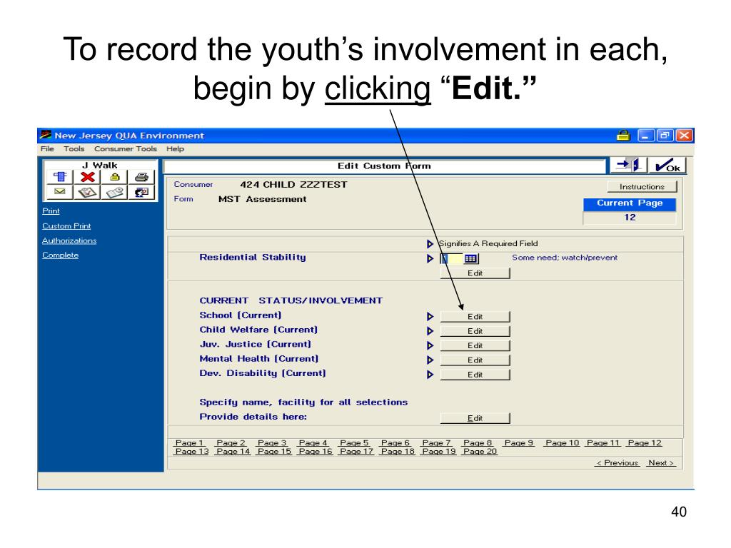 To record the youth's involvement in each, begin by