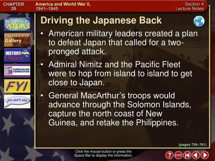 Driving the Japanese Back